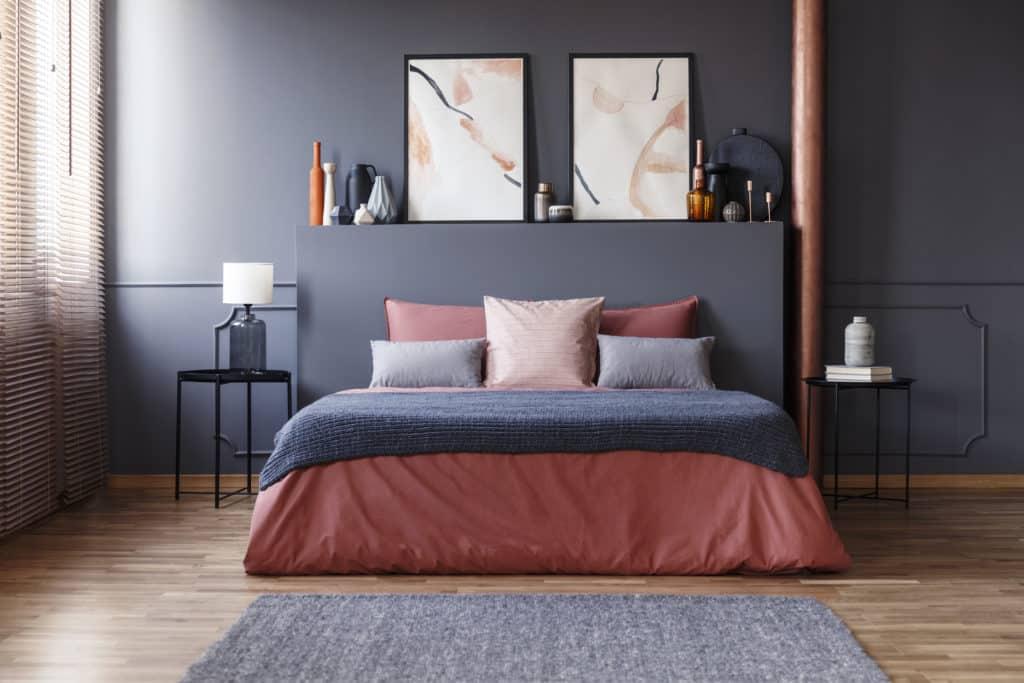 cabecero cama gris
